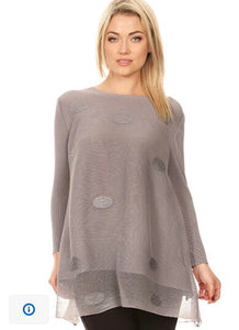 Vanite Couture Gray Long Sleeve Pleated Dress Top 6992