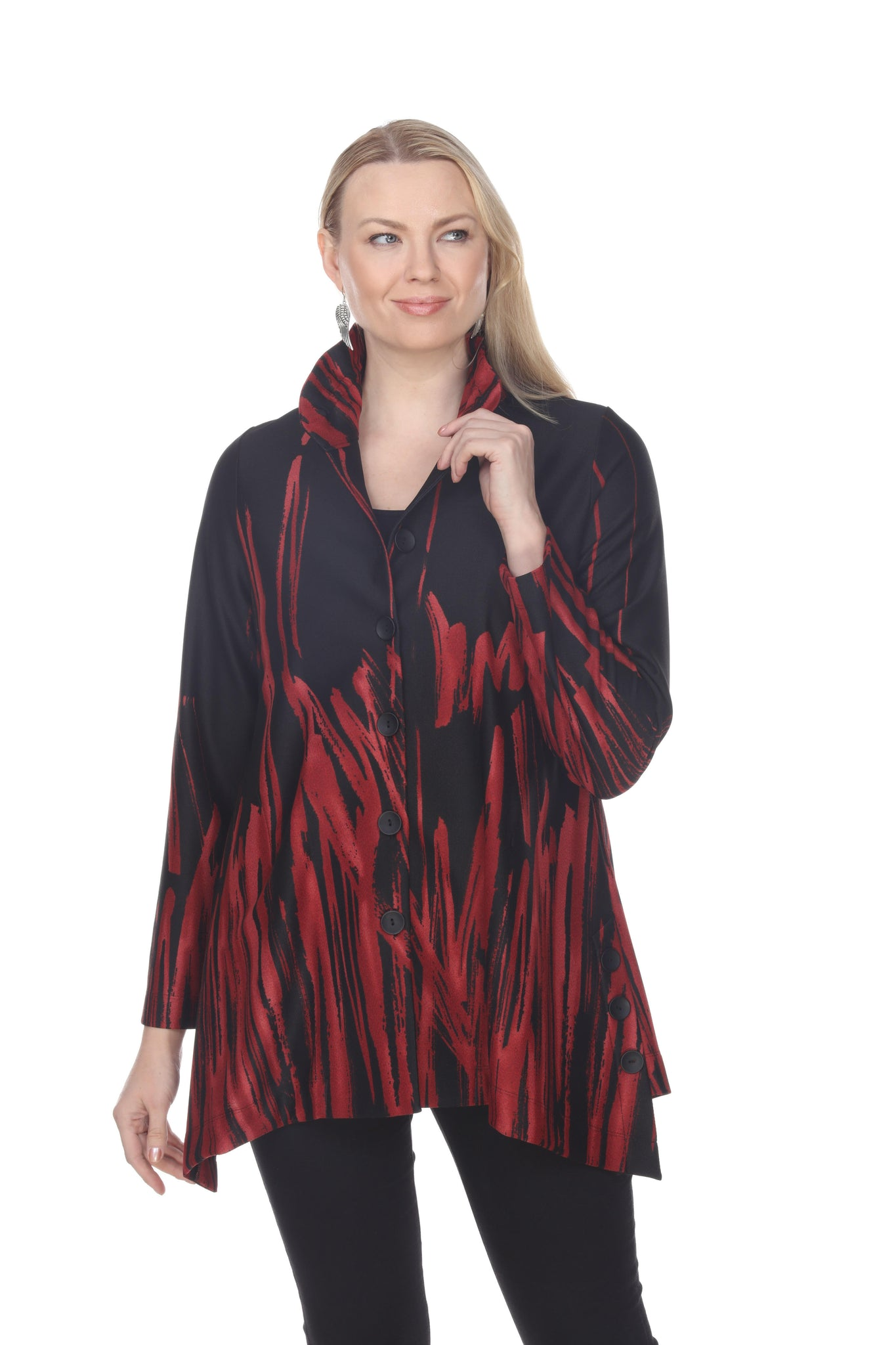 TERRA RED BLACK BUTTON DOWN TUNIC TOP 74265 - Coming Soon - Special Order