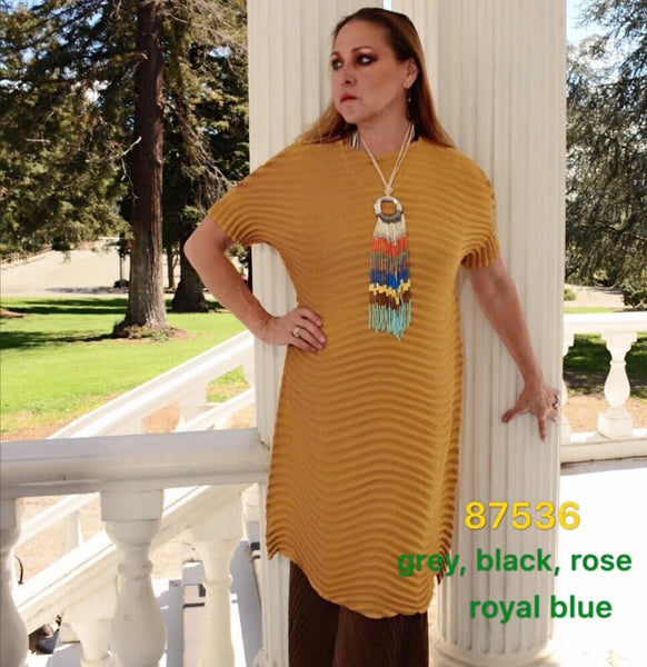 VANITE COUTURE PLEATED LONG TUNIC TOP 87536