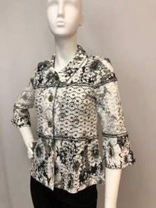 Vanite Couture Black Printed Pleated Gray Dress
