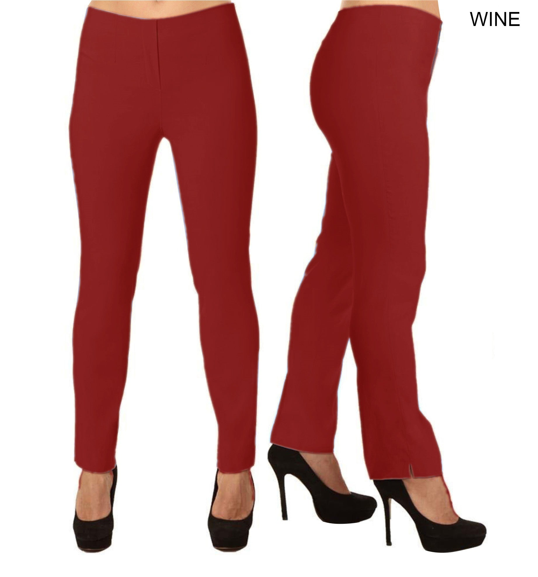 Lior Lize Red Pull Up Stretch Long Pant - Wine