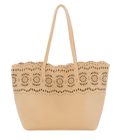 cut out tote bag in taupe