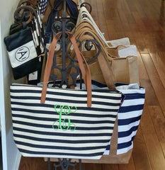 Striped Canvas Tote with Initial