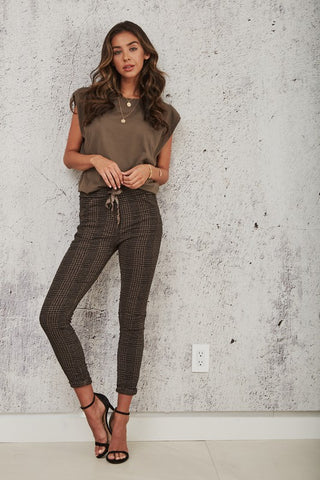 Hounds Tooth Crinkle Jogger