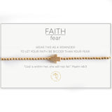 Faith Over Fear Stretch Cross Bracelet