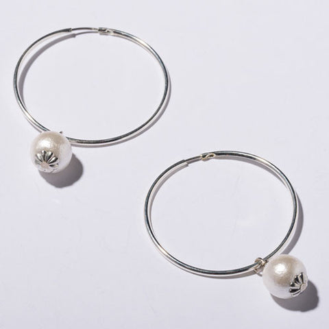 Cotton Pearl Hoop Earrings