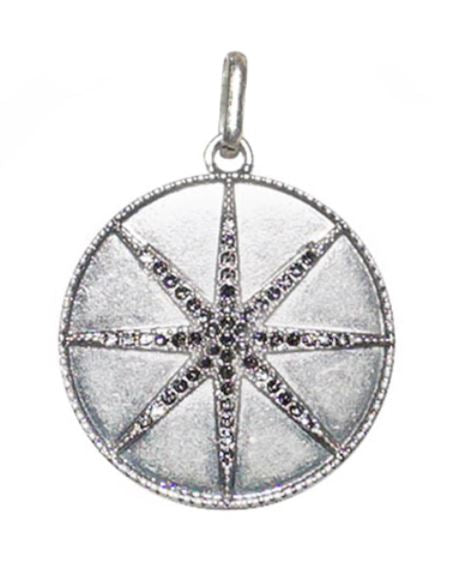 Silver Pave Starburst Disc Charm