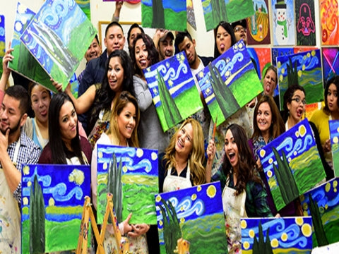 paint, wine, and canvas BYOB class in Dallas, Texas