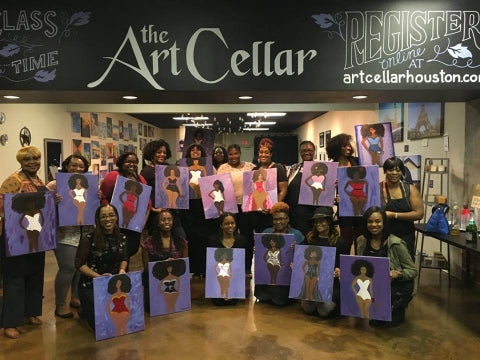 paint, wine, and canvas BYOB class in Houston, Texas, TX