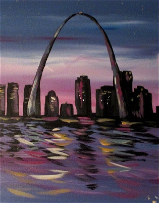 "SOLD OUT! Apr 17, Fri, 7-10pm, ""STL SKYLINE"" Public Paint & Wine Class in St. Louis / Maplewood"