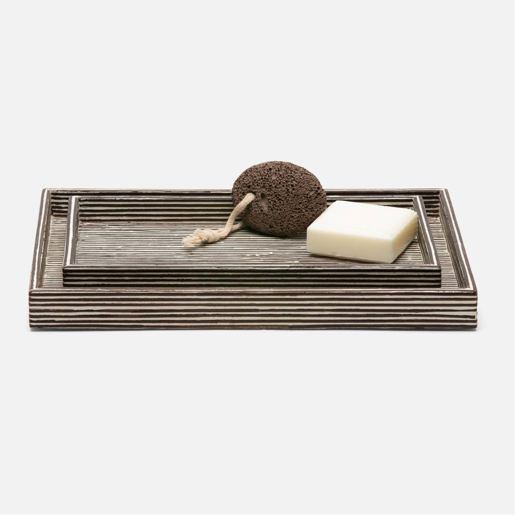 Pigeon and Poodle Kona Rectangular Tray - Straight, 2-Piece Set