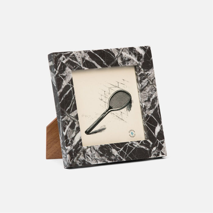 Pigeon and Poodle Thun Marble Nero Frame, 5x5 Image