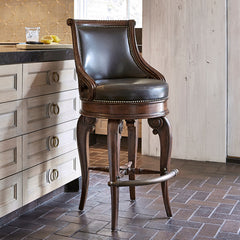 Ambella Home Tatum Swivel Counter Stool - Dark Leather