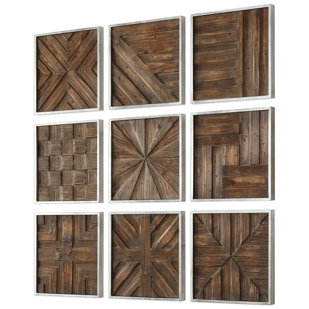 Uttermost Bryndle Rustic Wooden Squares 9-Piece Set