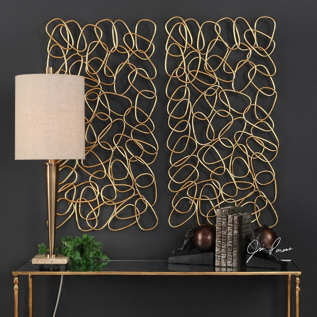 Uttermost In The Loop Gold Wall Art Set Of 2 Wall Decor Benjamin