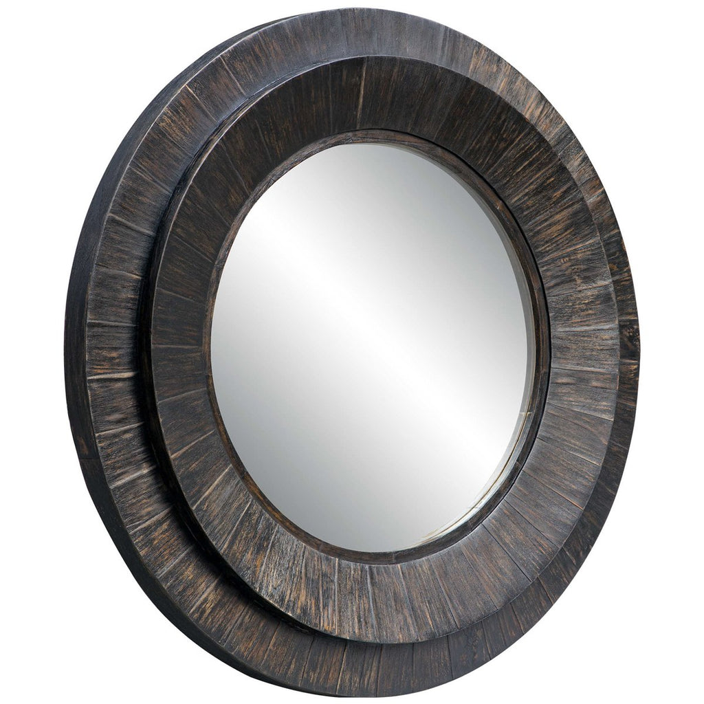 Uttermost Corral Round Wood Mirror