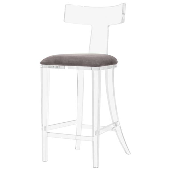 Interlude Home Tristan Klismos Bar Stool - Grey Velvet