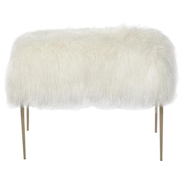 Interlude Home Stiletto Stool - Ivory Sheepskin