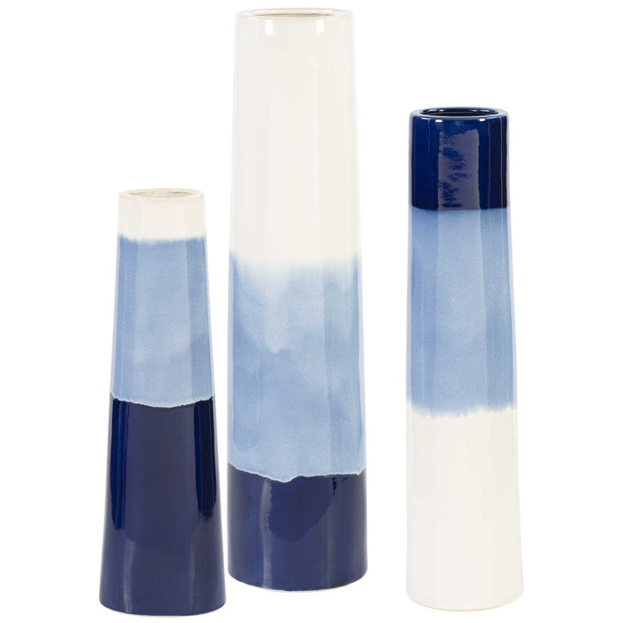 Uttermost Sconset White & Blue Vases, 3-Piece Set
