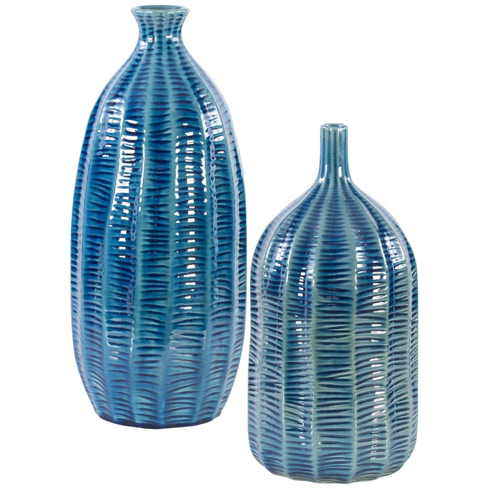 Uttermost Bixby Blue Vases - Set of 2