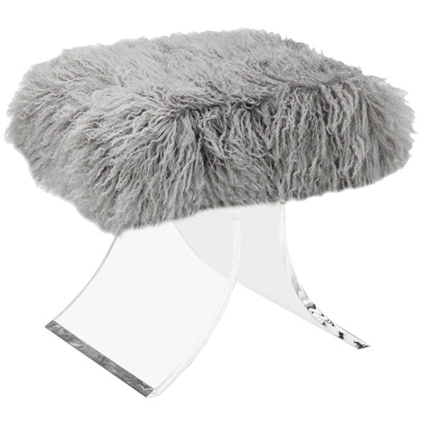 Interlude Home Serena Stool - Gray Sheep Skin