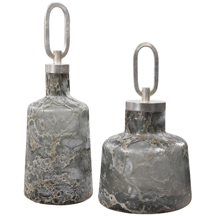 Uttermost Storm Art Glass Bottles, 2-Piece Set