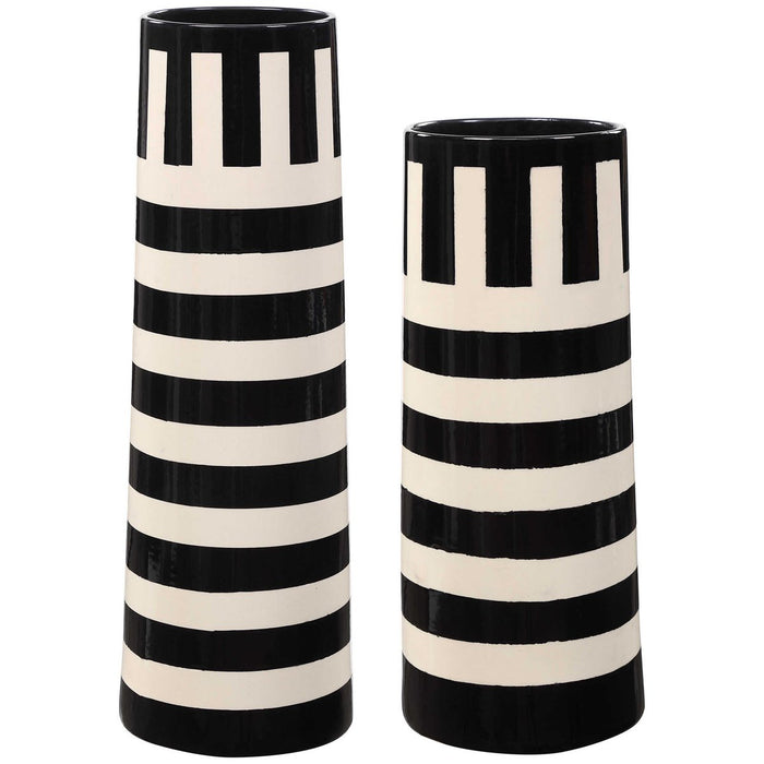 Uttermost Amhara Black-White Vases - Set of 2