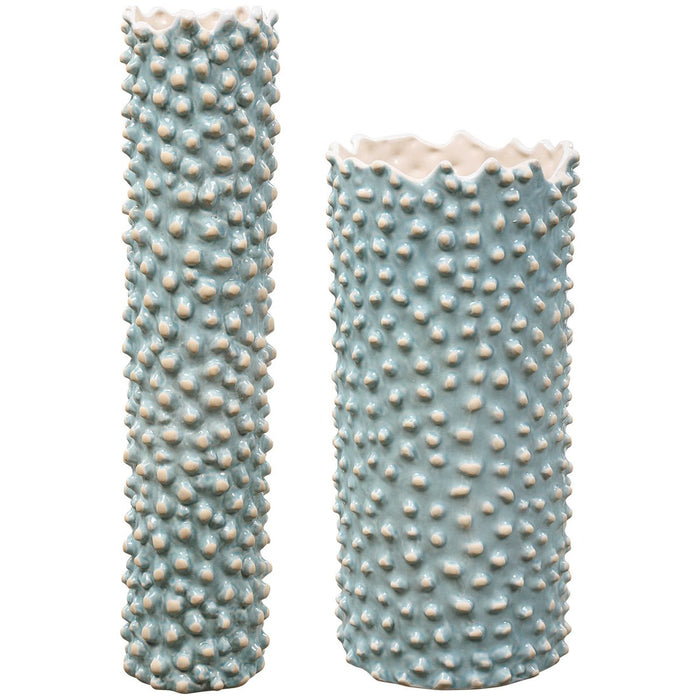 Uttermost Ciji Aqua Ceramic Vases - Set of 2