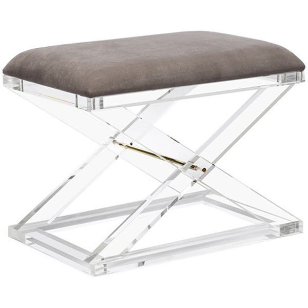 Interlude Home Asher Stool - Gray Velvet