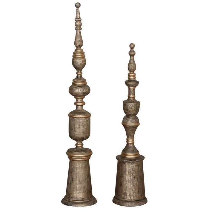 Uttermost Nalini Antique Gold Finials 2-Piece Set