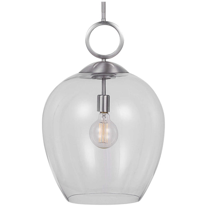 Uttermost Calix Nickel 1 Light Glass Pendant