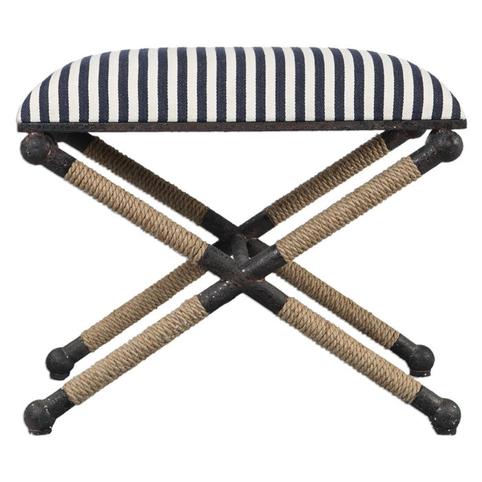 Uttermost Braddock Crisp Navy and White Small Bench