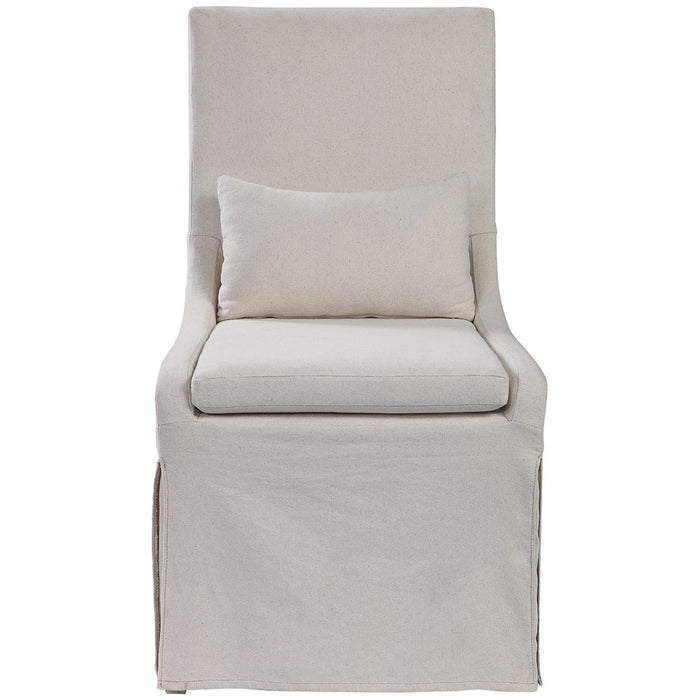 Uttermost Coley White Linen Armless Chair