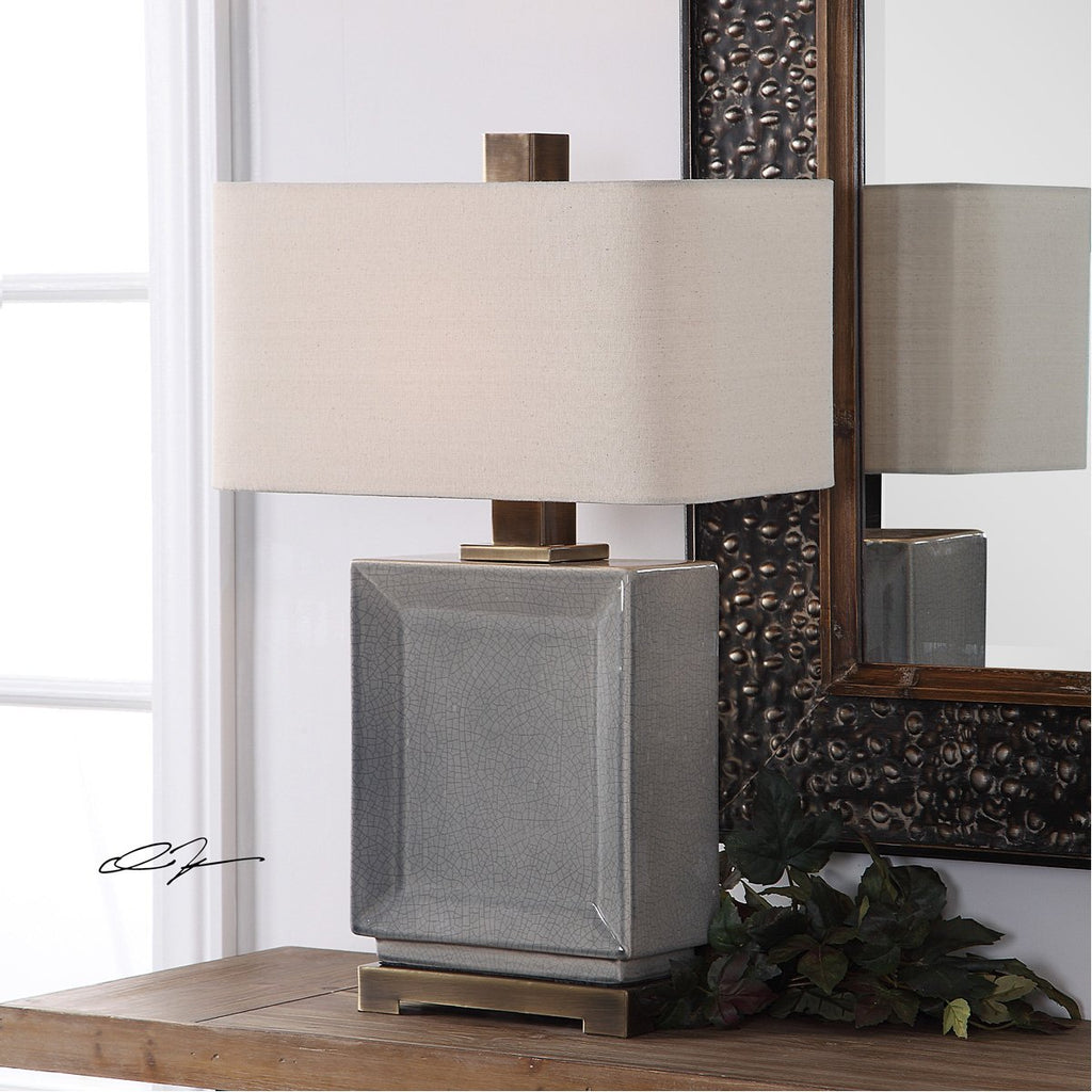 Uttermost Abbot Crackled Gray Table Lamp