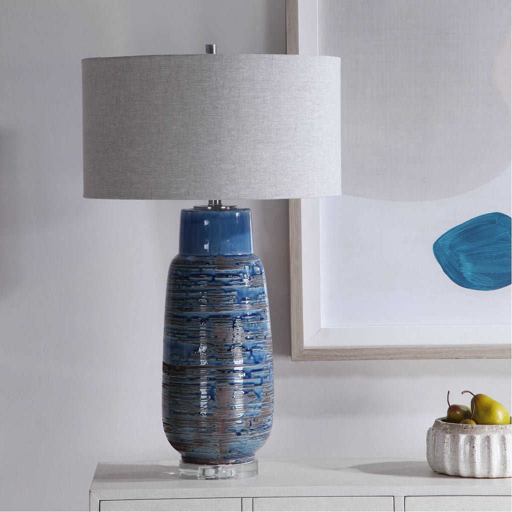 Uttermost Magellan Blue Table Lamp