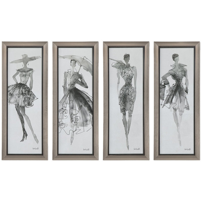 Uttermost Fashion Sketchbook Champagne Silver Artwork Set of 4