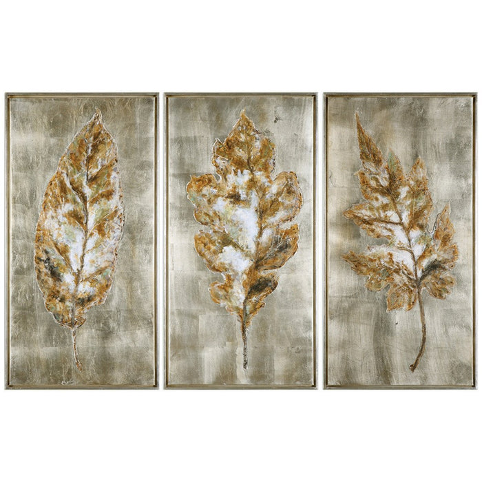 Uttermost Champagne Leaves Artwork Set of 3