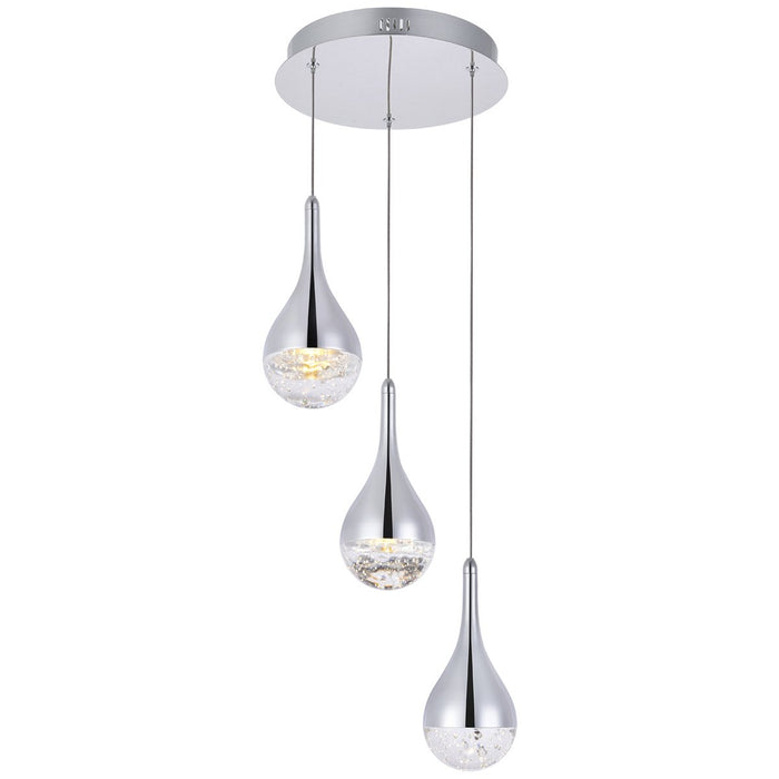 Elegant Lighting Amherst Led 3-Light Round Chandelier in Chrome