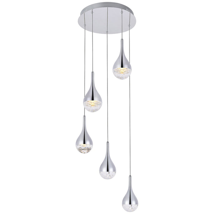 Elegant Lighting Amherst Led 5-Light Round Chandelier in Chrome