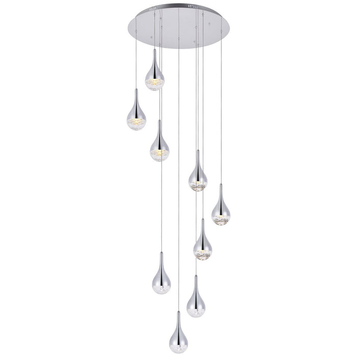 Elegant Lighting Amherst Led 9-Light Chandelier in Chrome