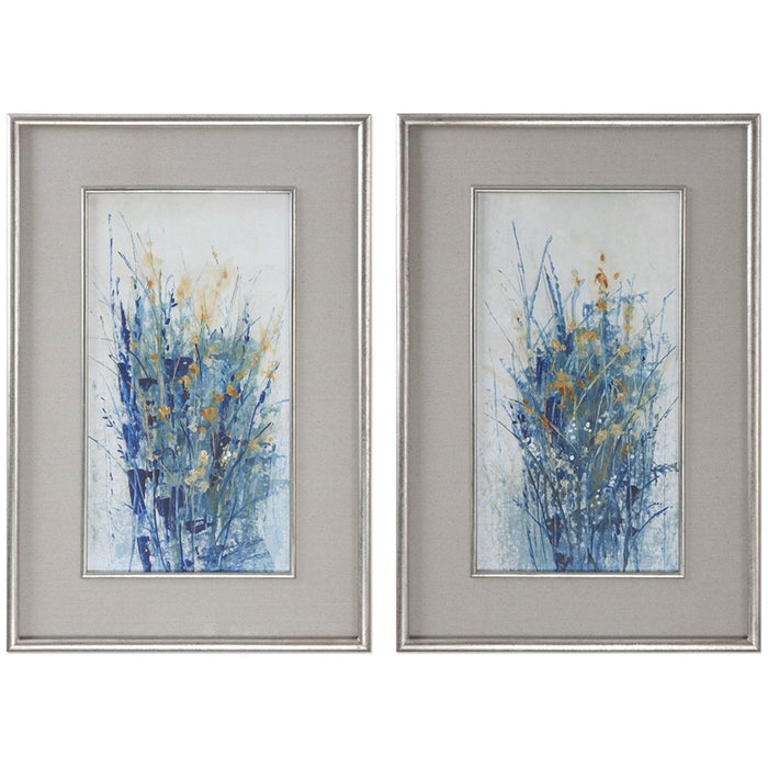 Uttermost Set of 2 Indigo Florals Wall Art