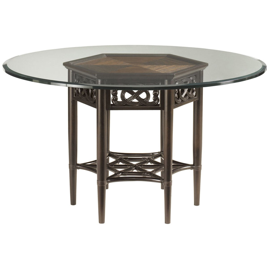 Tommy Bahama Royal Kahala Sugar and Lace Dining Table with Glass Top