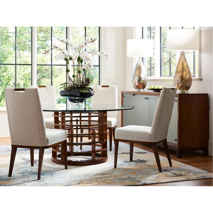 Tommy Bahama Island Fusion Meridien Round Dining Table with Glass Top
