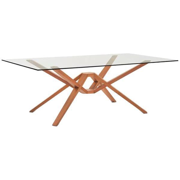 Copeland Furniture Exeter Glass Top Dining Table in Cherry