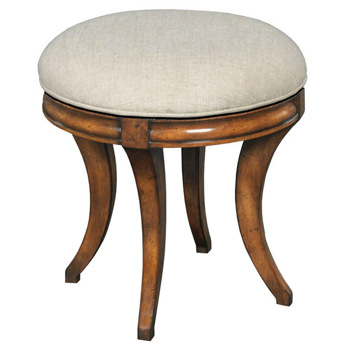 Woodbridge Furniture Beige Linen Swivel Vanity Seat Stool