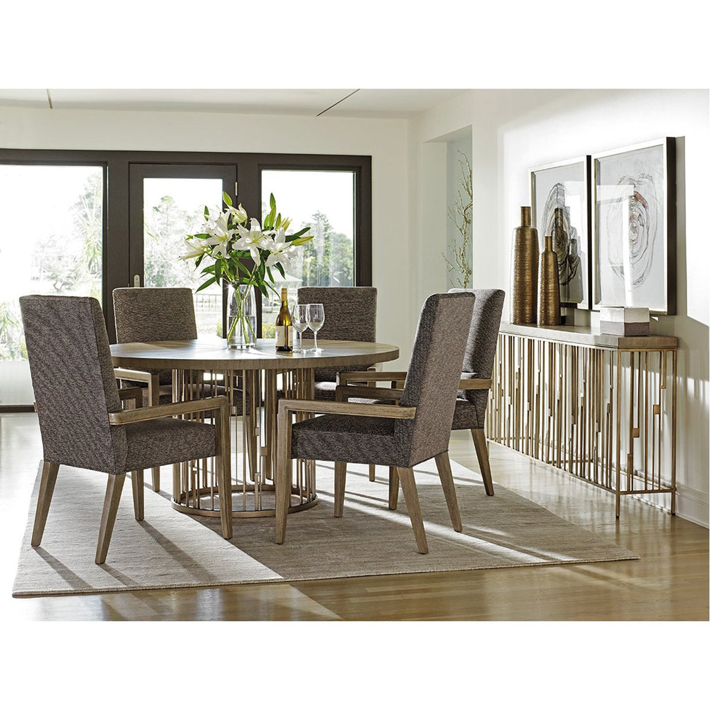 Lexington Rendezvous Round Metal Dining Table with Wooden Top