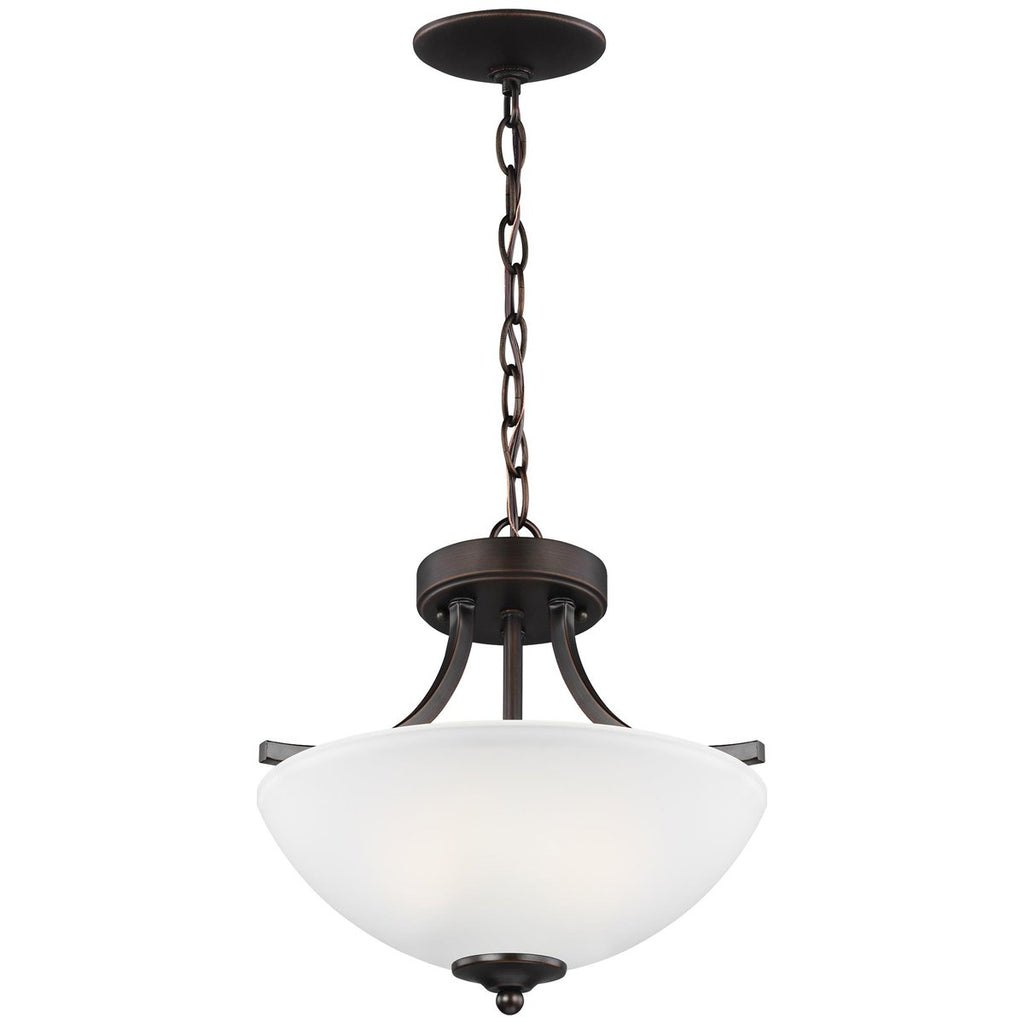 Sea Gull Lighting Geary Small 2-Light Semi-Flush Convertible Pendant
