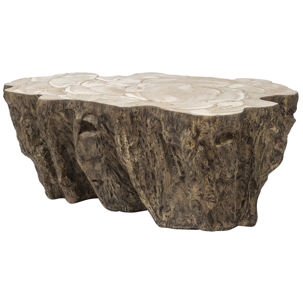 Palecek Chloe Fossilized Clam Lava Coffee Table Coffee