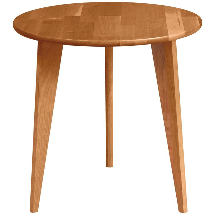 Copeland Furniture Essentials Round End Table with Wood Legs