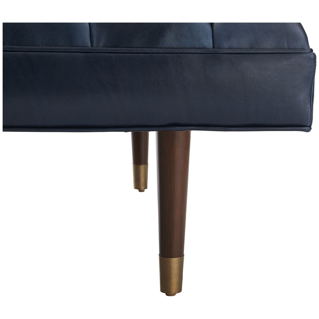 Arteriors Christophe Leather Bench - Indigo/Dark Walnut